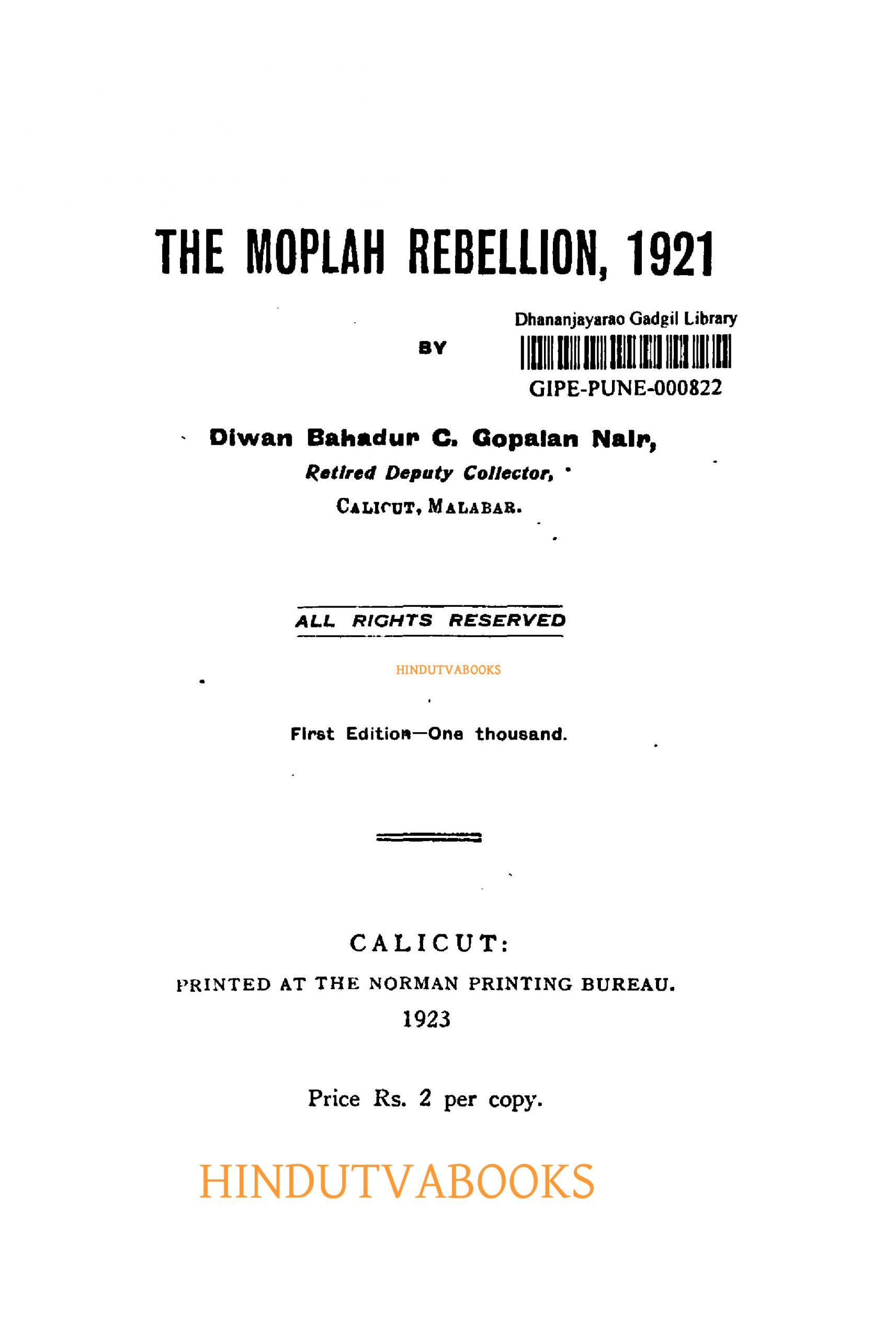 The Moplah Rebellion, 1921